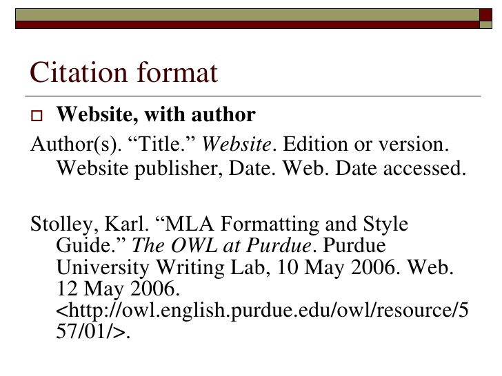 apa format example for websites